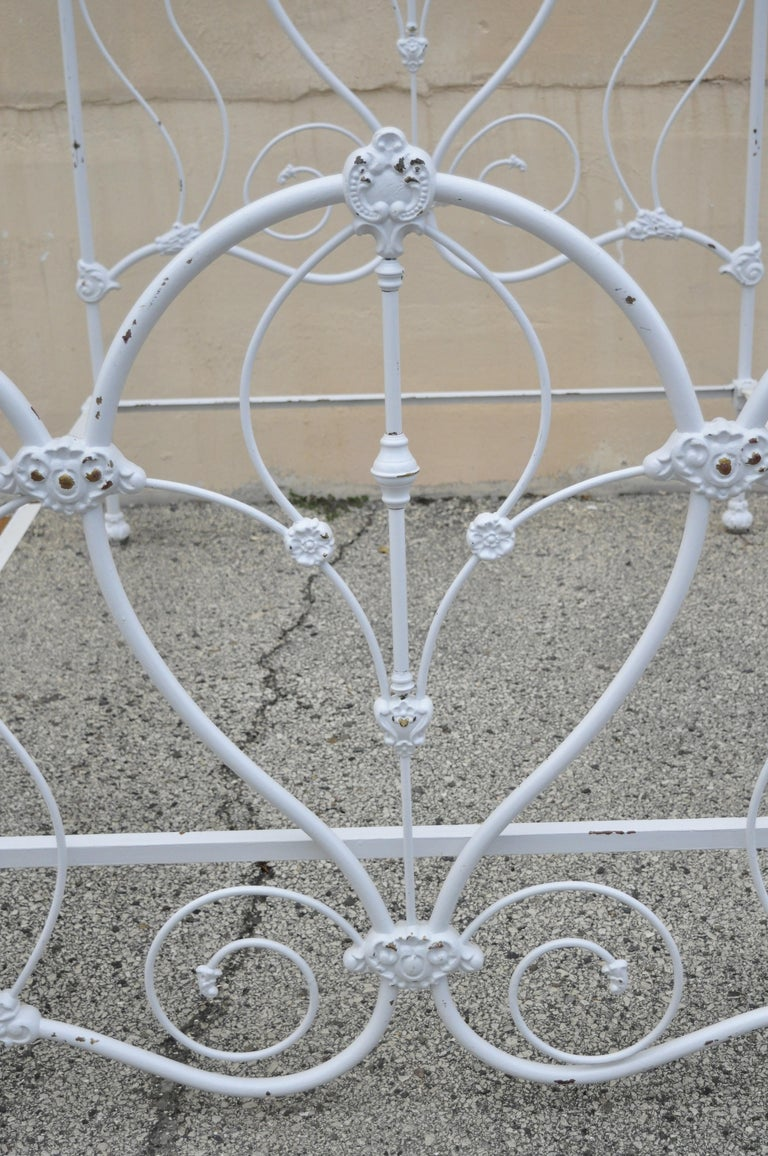 Antique Victorian Cast Iron Ornate White Scrollwork Full Size Metal Bed Frame 1