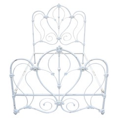 Antique Victorian Cast Iron Ornate White Scrollwork Full Size Metal Bed Frame