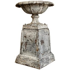 Antique Victorian Cast Iron Urn and Plinth