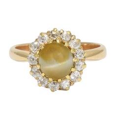 Antique Victorian Cat's Eye Diamond Cluster Ring