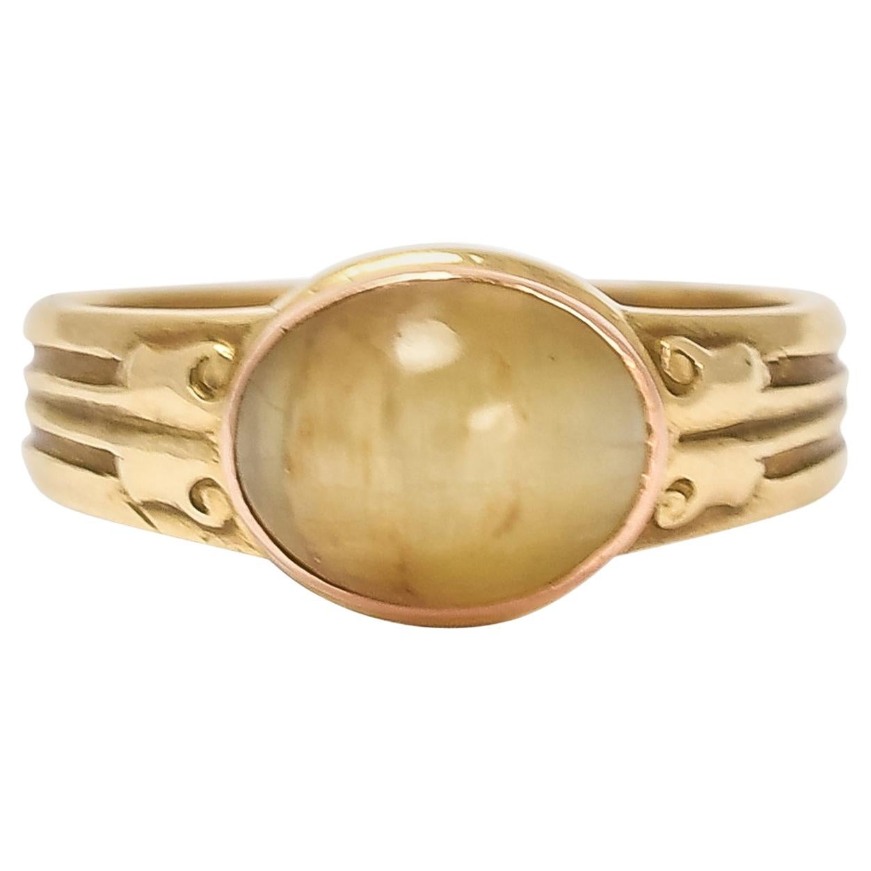 Antique Victorian Cat's Eye Solitaire Ring