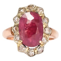 Antique Victorian Certified 5 Carat Burma Ruby Cluster Ring