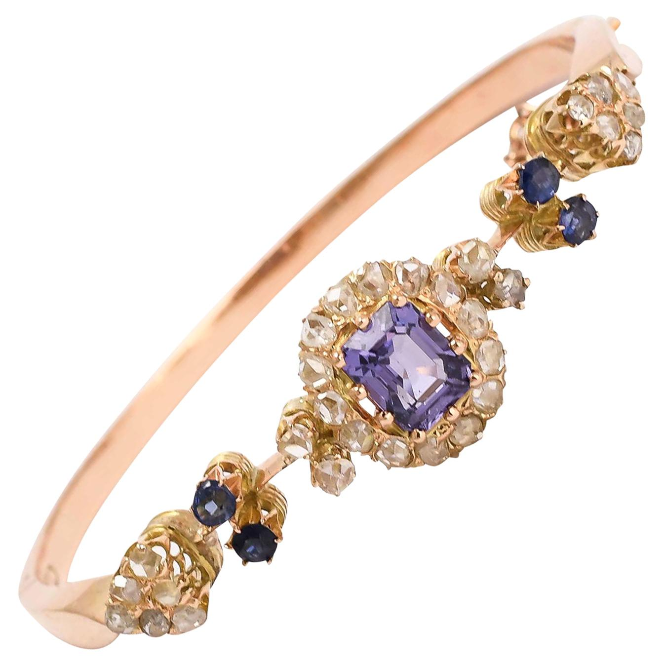 Antique Victorian Certified Blue Spinel Diamond Bangle