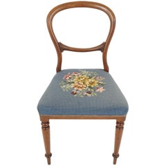 Antique Victorian Chair, Mahogany Upholstered Parlor Chair, Balloon Back, B2171
