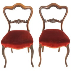 Antique Victorian Chairs, Carved Rosewood Occasional Chairs, Scotland 1870 B2055