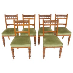 Antique Victorian Chairs, Set of 6 Carved Oak Dining Chairs, Scotland 1890 B2086