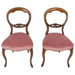 Antique Victorian Chairs, Walnut Balloon Back Chairs, Scotland 1880, B2017