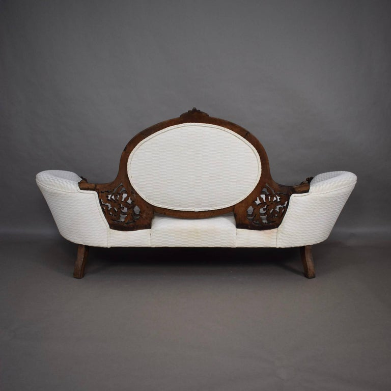 Love Sofa Dimensions: Victorian Antique Chaise Longue Love Seat Sofa, 18th-19th