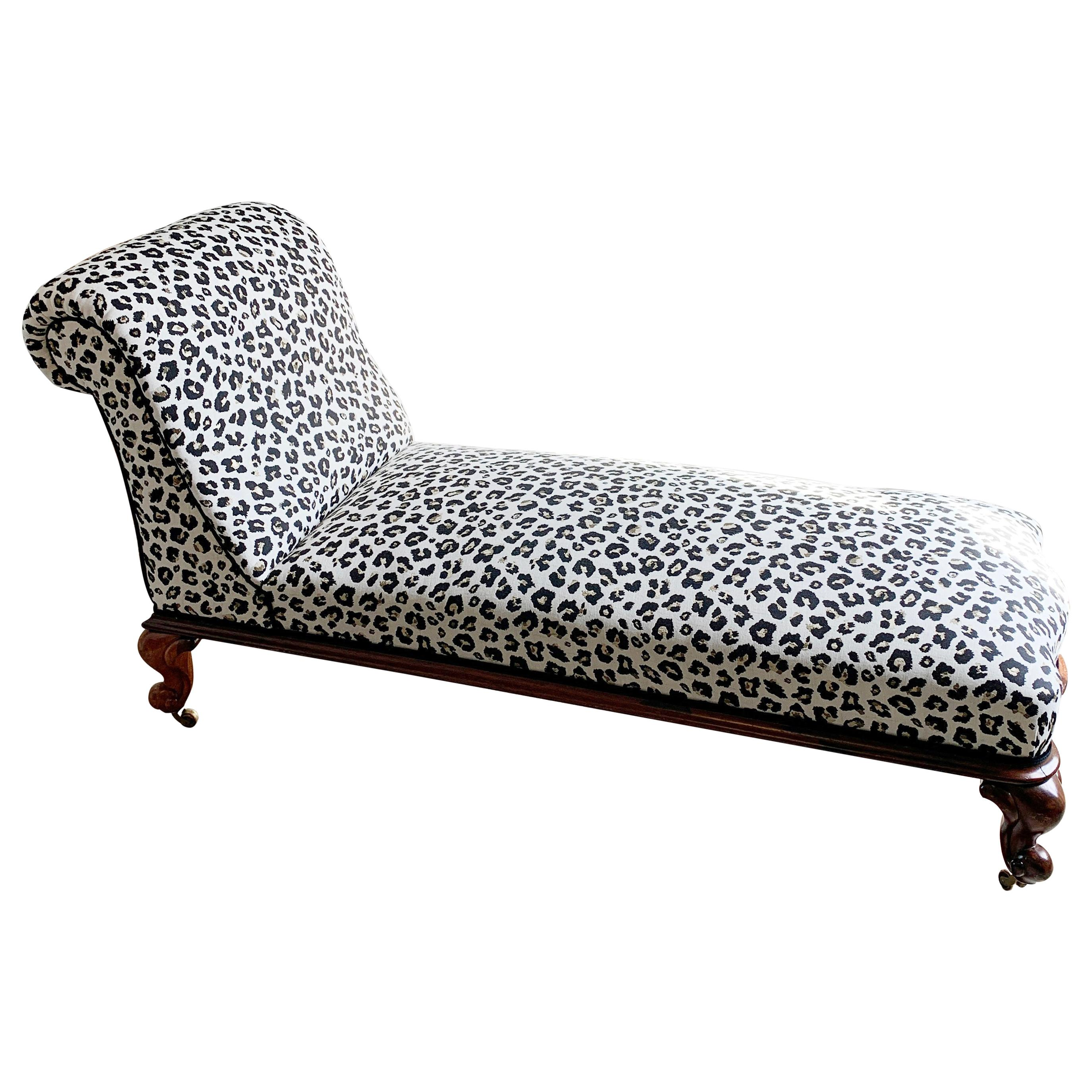 Antique Victorian Chaise Longue in Woven Leopard Jacquard