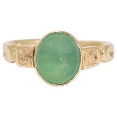 Antique Victorian Chalcedony Heraldic Signet Ring