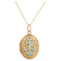 Antique Victorian Chased Turquoise Anchor Locket