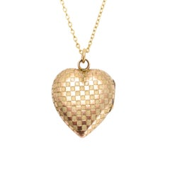 Antique Victorian Chequerboard Heart Locket Pendant