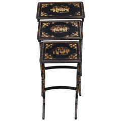 Antique Victorian Chinoiserie Nest of Decorated Black Lacquer Tables