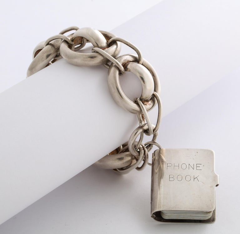 Late Victorian Antique Victorian Chunky Silver Bracelet with Address Book Charm For Sale