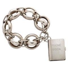 Antique Victorian Chunky Silver Bracelet with Address Book Charm
