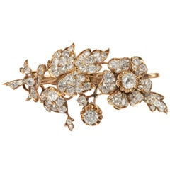 Antique Victorian circa 1850, 5.83 Carat Diamond Gold Rose Floral Spray Brooch