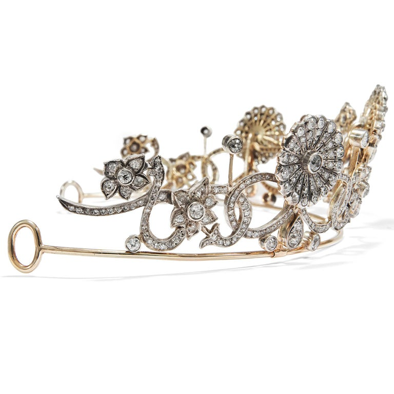 Old European Cut Antique Victorian circa 1890 16.76 ct Diamond Silver and Gold Belle Époque Tiara For Sale