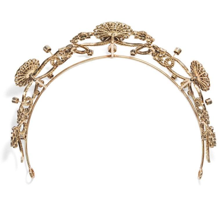 Antique Victorian circa 1890 16.76 ct Diamond Silver and Gold Belle Époque Tiara For Sale 1