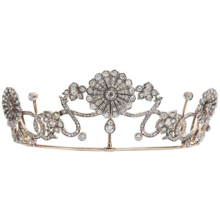 Antique Victorian circa 1890 16.76 ct Diamond Silver and Gold Belle Époque Tiara For Sale