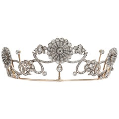 Antique Victorian circa 1890 16.76 ct Diamond Silver and Gold Belle Époque Tiara