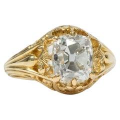 Antique Victorian circa 1890, 2.97 Carat Old Mine Cut Diamond Engagement Ring