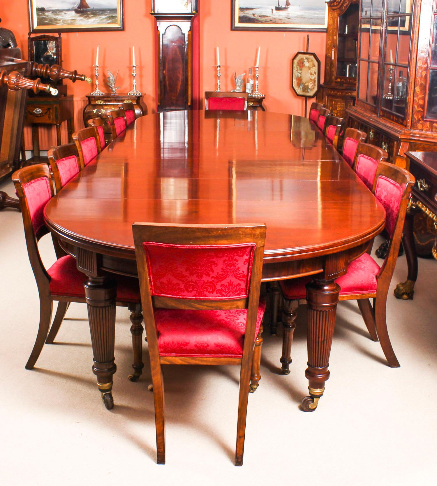 Antique Victorian Circular Extending Dining Table And 14 Chairs