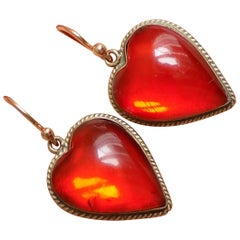 Antique Victorian Cognac Amber Gold Heart Earrings