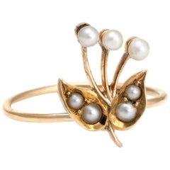 Antique Victorian Conversion Ring Flower 14 Karat Gold Seed Pearls Vintage