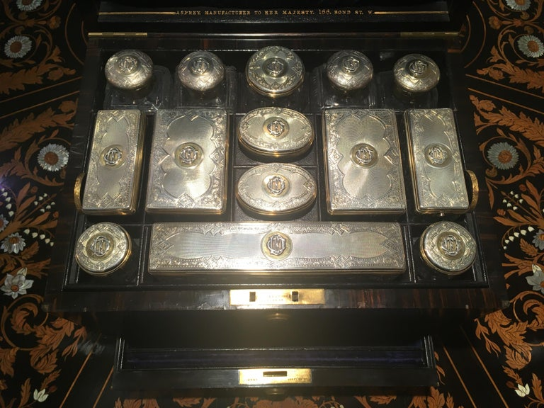 Antique Victorian Coromandel and Brass Bound Dressing Case by Asprey In Good Condition For Sale In London, GB
