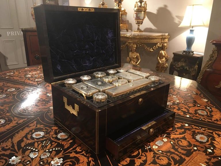19th Century Antique Victorian Coromandel and Brass Bound Dressing Case by Asprey For Sale