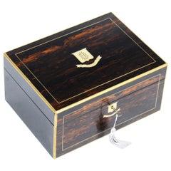 Antique Victorian Coromandel and Brass Banded Box, 19th Century