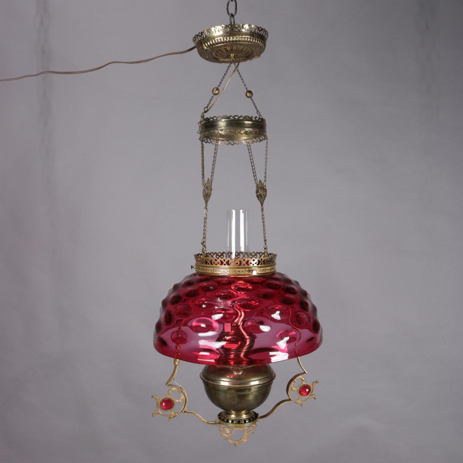 Hanging hall lamp brass cranberry shade