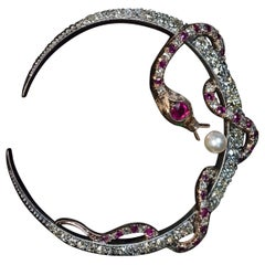 Antique Victorian Crescent and Snake Large Jeweled Brooch