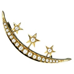 Antique, Victorian Crescent Moon and Star Brooch with Sea Water Natural Pearls
