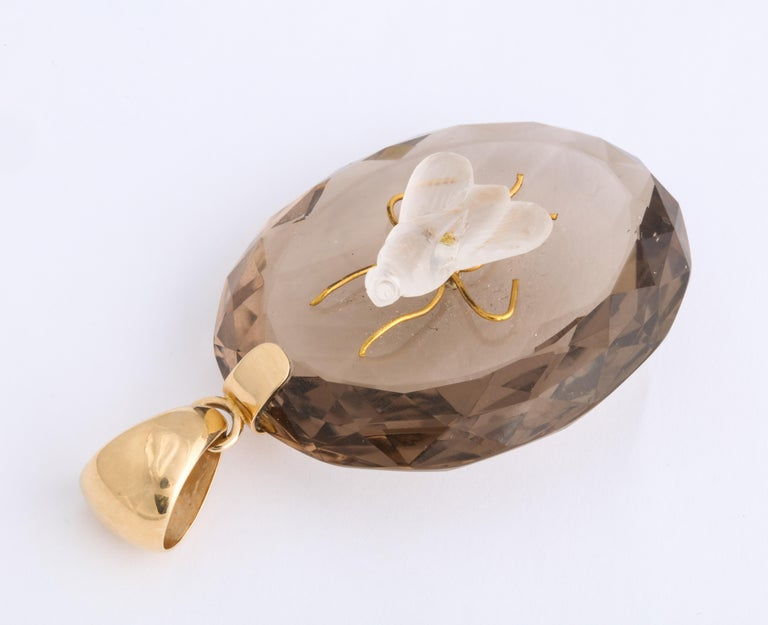 Antique Victorian Crystal and Smokey Quartz Fly Pendant In Excellent Condition For Sale In Stamford, CT
