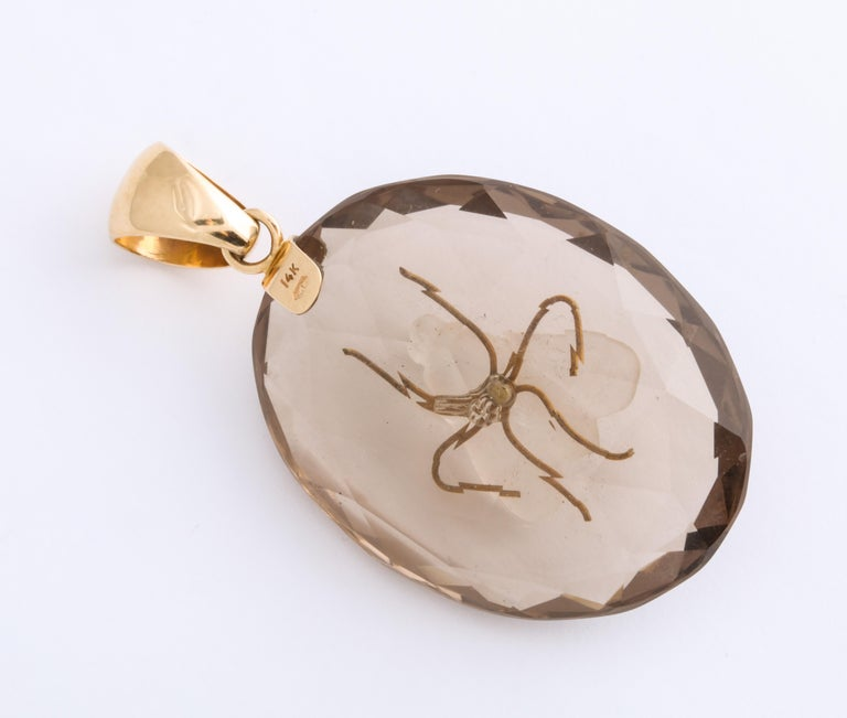 Antique Victorian Crystal and Smokey Quartz Fly Pendant For Sale 1