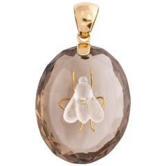 Antique Victorian Crystal and Smokey Quartz Fly Pendant