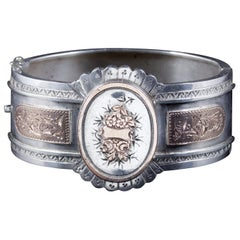 Antique Victorian Cuff Bangle Forget Me Not Silver, circa 1880
