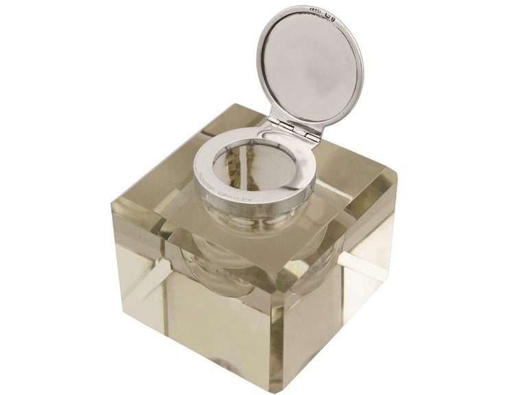 Late 19th Century Antique Victorian Cut Glass and Sterling Silver Desk Inkwell For Sale