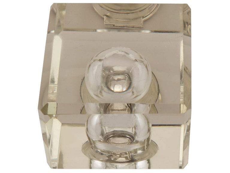 Antique Victorian Cut Glass and Sterling Silver Desk Inkwell For Sale 4
