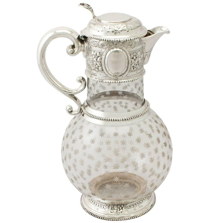 Antique Victorian Cut Glass and Sterling Silver Mounted Claret Jug For Sale