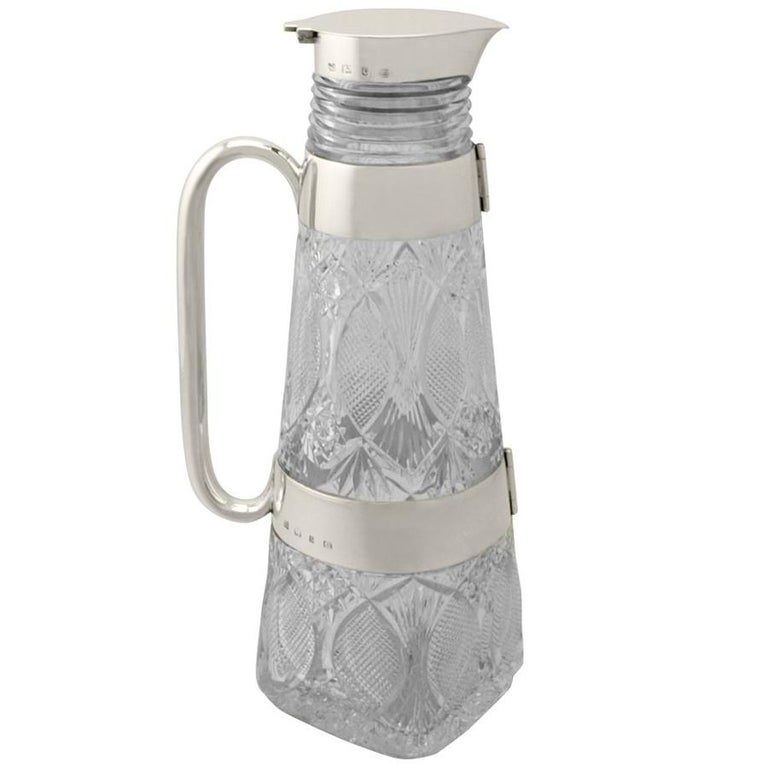 Antique Victorian Cut-Glass and Sterling Silver Mounted Lemonade/Claret Jug For Sale