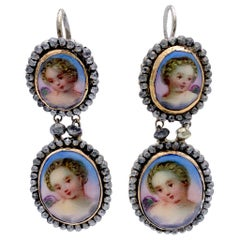 Antique Victorian Cut Steel Porcelain Cherubs Earrings