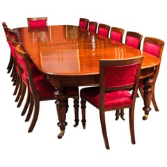 Antique Victorian D-End Mahogany Dining Table and 14 Chairs, 19th Century