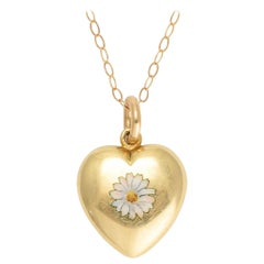 Antique Victorian Daisy Puffed Heart Pendant