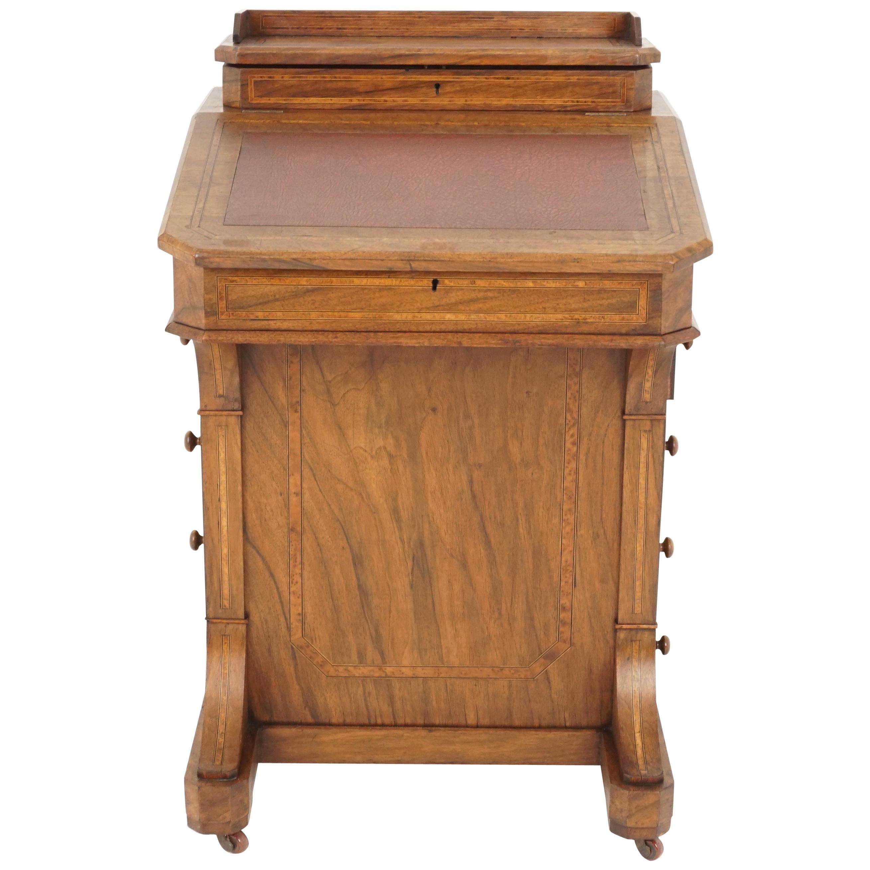 Antique Victorian Davenport Desk, Walnut Writing Desk, Scotland 1880, B2377
