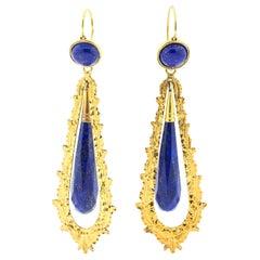 Antique Victorian Day Night 18 Karat Gold Lapis Dart Ear Pendants