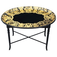 Antique Victorian Decorated Black Lacquer Tray on Stand Coffee Table