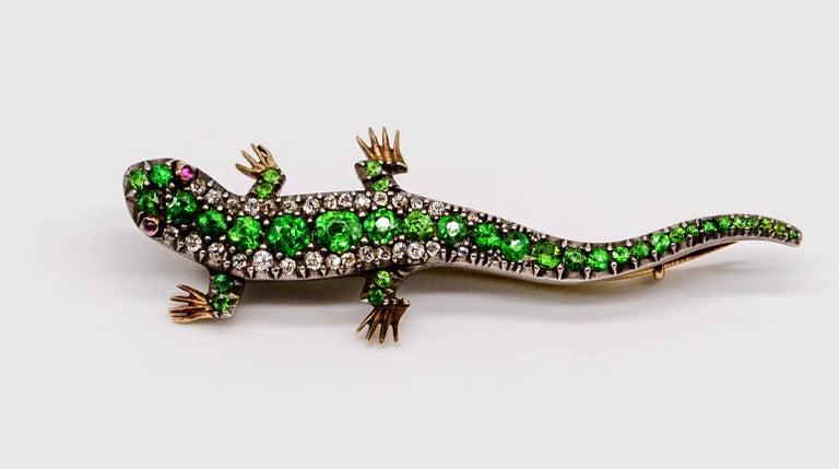 Antique Cushion Cut Antique Victorian Demantoid Garnet Diamond Ruby Lizard Pin For Sale