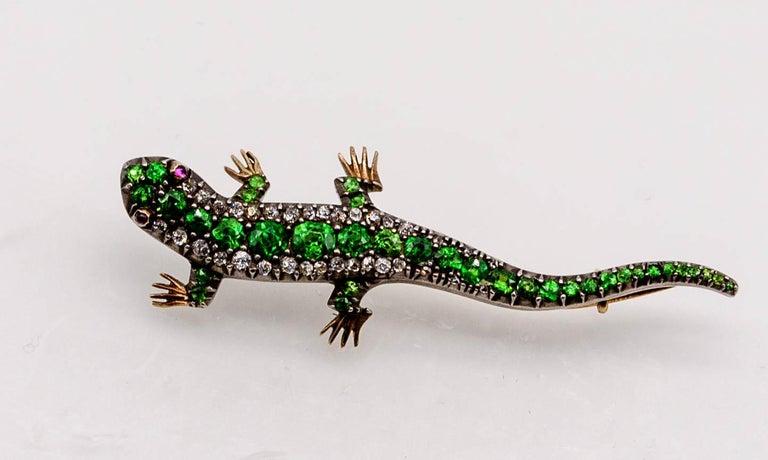 Antique Victorian Demantoid Garnet Diamond Ruby Lizard Pin For Sale 3